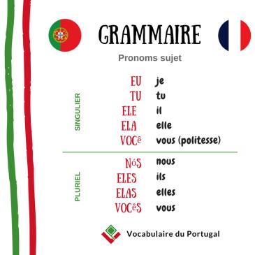 Grammaire: Les pronoms personnels sujet | Vocabulaire du Portugal